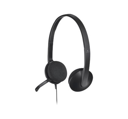 LOGITECH H340 Wired Stereo Headset - Over-the-head - Semi-open - Black Left