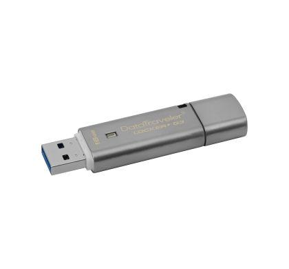 Kingston DataTraveler Locker+ G3 16 GB USB 3.0 Flash Drive - Silver - 1 Pack Left