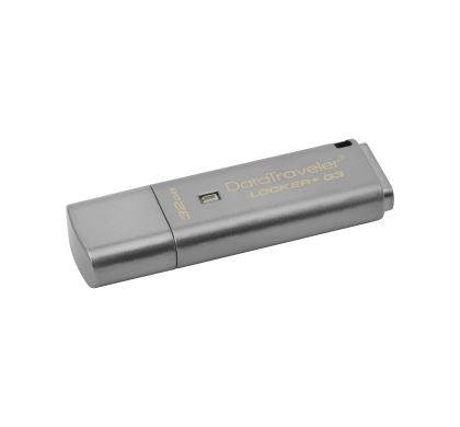 Kingston DataTraveler Locker+ G3 32 GB USB 3.0 Flash Drive - Silver - 1 Pack Left